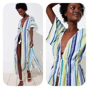 LOFT Beach Shimmer Stripe Maxi Cotton Coverup Sz S